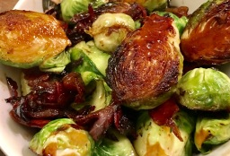 Brussel Sprouts with Organic Jamon Serrano in Maple syrup glaze
